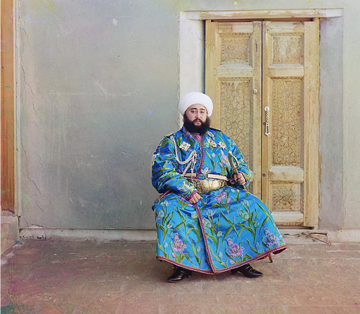 Alim Khan, Emir of Bukhara, seated holding sword; between 1905 and 1915 Sergei Mikhailovich Prokudin-Gorskii Collection (Library of Congress).