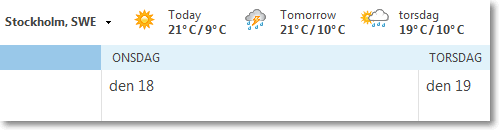 Weather in Outlook 2013