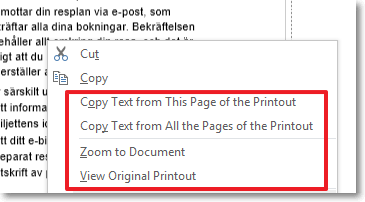 OneNote 2013: copy text from printout