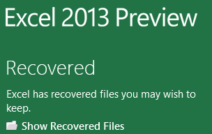Excel 2013: Recovered
