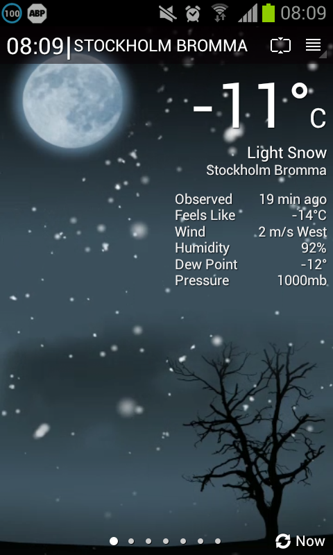 Stockholm weather, 2012-12-04